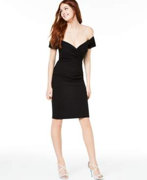 Crystal Doll Juniors' Off-The-Shoulder Bodycon Dress
