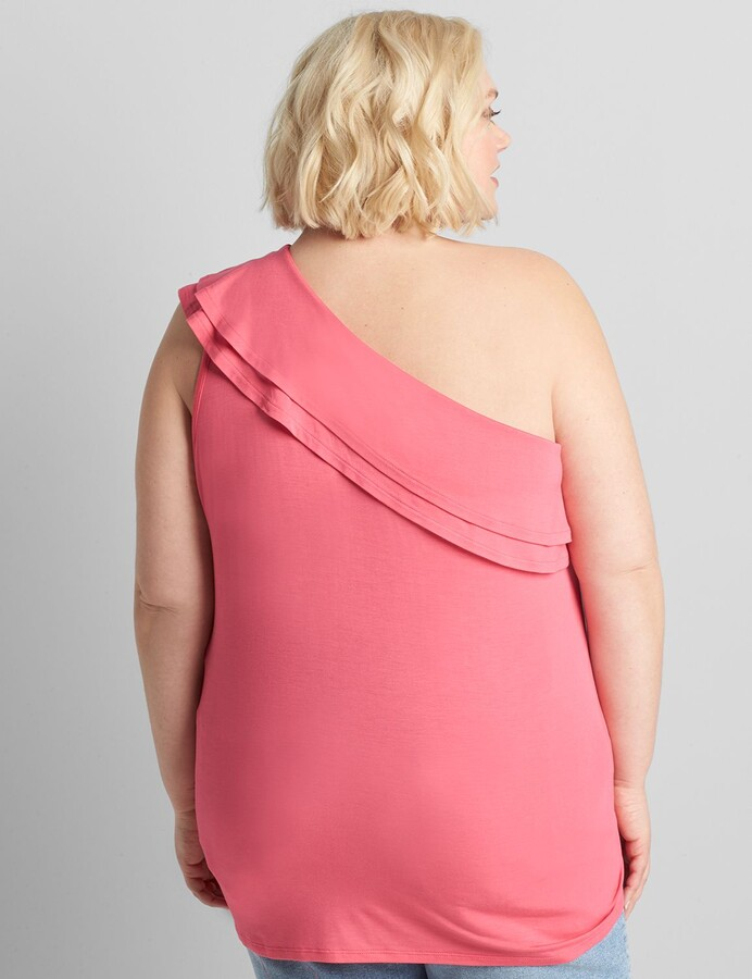 Thumbnail for your product : Lane Bryant One-Shoulder Ruffle Top