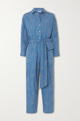 Rhode Resort June Belted Printed Cotton Jumpsuit - Blue