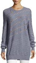 Prabal Gurung Diagonal Cutout & Seam Merino Wool Sweatshirt, Gray