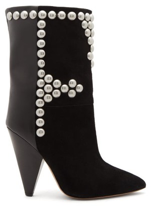 Isabel Marant Layo Studded Cone-heel Suede Calf Boots - Black