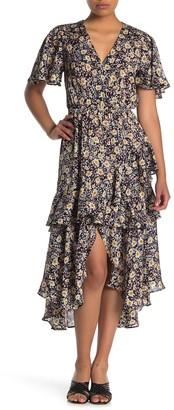 Love Stitch Floral Tiered Midi Dress
