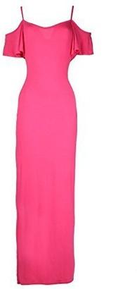 Fashion Star Womens Celeb Cap Sleeve Strappy Summer Cami Off Shoulder Long Maxi Dress Cerise
