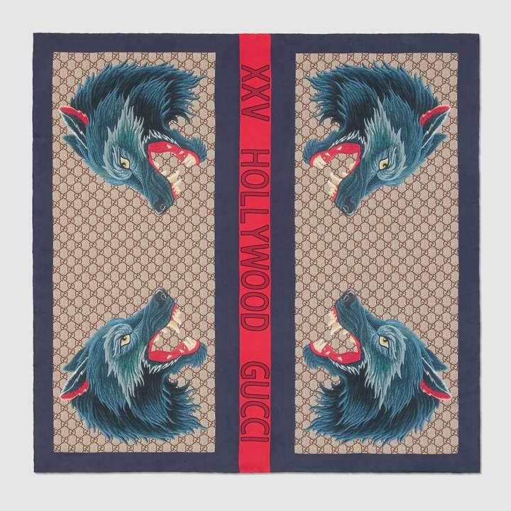 Gucci Wolf Web print silk scarf