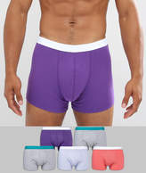 Asos Trunks In Multi Colours With Green & White Waistband 5 Pack