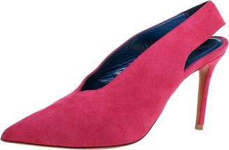 Celine Pink Suede V Neck Slingback Sandals Size 35.5