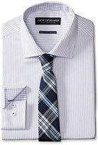 Nick Graham Men's Stripe Twill Dress Shirt with Plaid Tie
