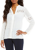 Jones New York Lace Inset Georgette Peasant Top