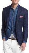 Brunello Cucinelli Tonal Madras Two-Button Jacket, Deep Blue