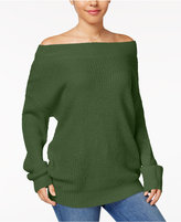 Ultra Flirt Juniors' Off-The-Shoulder Pullover Cozy Sweater