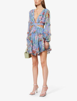 Zimmermann Floral-print cut-out silk mini dress