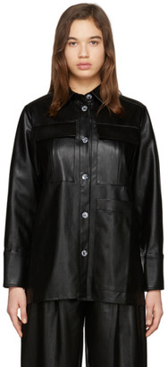 Áeron SSENSE Exclusive Black Faux-Leather Blanche Shirt