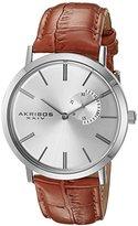 Akribos XXIV Men's AK848SSBR Silver Dial Brown Leather Strap Watch