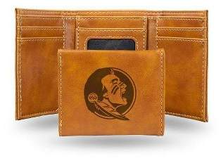 NCAA Florida State Seminoles Laser Engraved Brown Leather Trifold Wallet