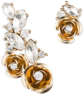 Anne Klein Flower Crawler with Stud Gold and Crystal Pierced Earrings