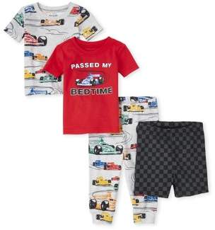 Children's Place The Baby Toddler Boy Short Sleeve Shorts & Pants Pajamas, 4pc Set