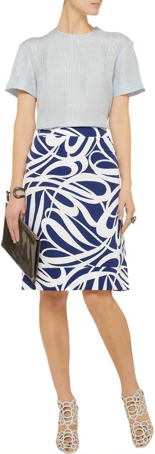 Marni Printed cotton-blend faille skirt