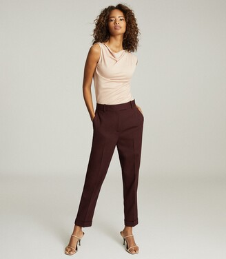 Reiss Freya - Slim Fit Tailored Trousers in Berry