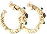 David Yurman Renaissance Amethyst & Tourmaline Hoop Earrings