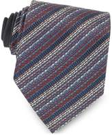 Missoni Blue and Red Diagonal Stripe Woven Silk Tie
