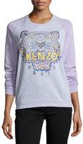 Kenzo Cotton Raglan Tiger Sweatshirt, Light Gray