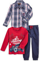 Nannette Little Boys' Woven Shirt, Long Sleeve Tee, and Pants 3pc Set