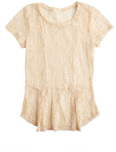 Delia's Lace Peplum Short Sleeve