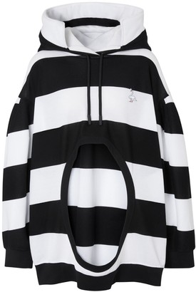 Burberry Swan Motif Cut-out Detail Cotton Oversized Hoodie