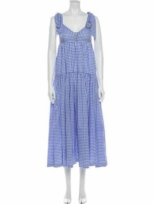 Caroline Constas Plaid Print Long Dress Blue