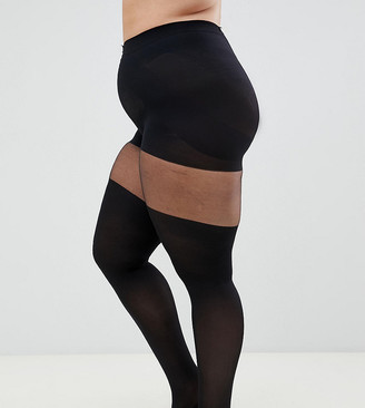 ASOS DESIGN Curve mock over the knee black tights with support
