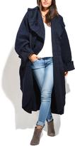 Everest Blue Oversize Wool-Blend Peacoat - Plus Too