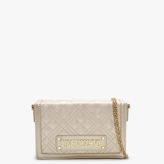 Love Moschino Quilted Studded Logo Gold Clutch Bag