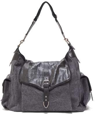 Isabel Marant Mawee Leather Trimmed Linen Shoulder Bag - Womens - Black