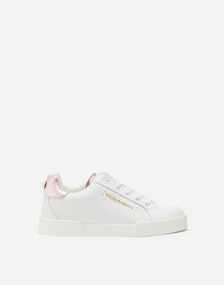 Dolce & Gabbana Calfskin Portofino Sneakers With Logo