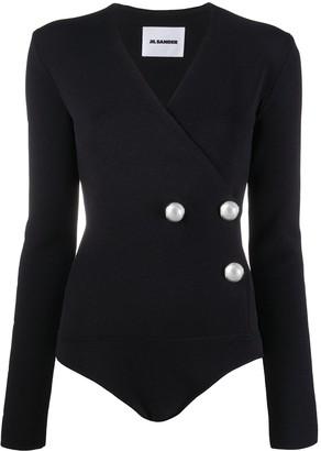 Jil Sander Faux Pearl-Embellished Wrap Bodysuit