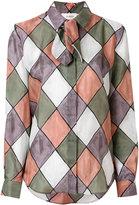 Isa Arfen diamond pattern print shirt with neck tie