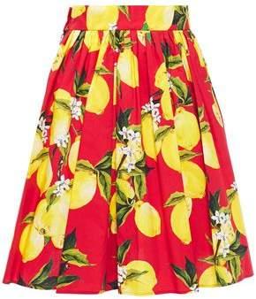 Dolce & Gabbana Pleated Printed Cotton-poplin Mini Skirt