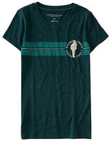 Aeropostale Womens Chenille Torch Racing Stripe Graphic T Shirt Green