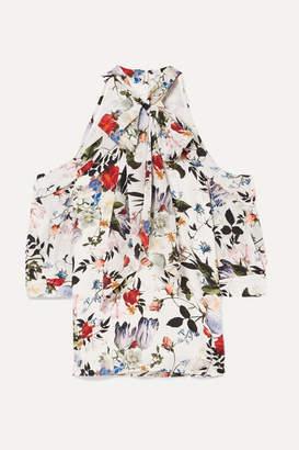 Erdem Elin Cold-shoulder Floral-print Silk Crepe De Chine Top - White