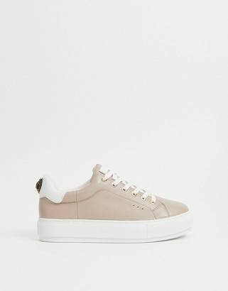 Kurt Geiger Laney eagle trim trainers in pale pink leather