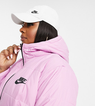 Nike puffer jacket with back swoosh in soft pink