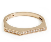 ONE JEWELRY Agnes 14K Stack Ring With Pave Diamonds