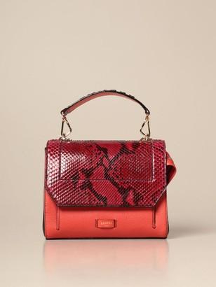 Lancel Handbag Ninon Bag In Grained Leather And Python Print Leather