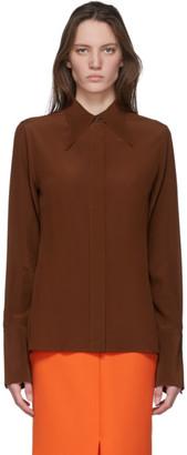 Victoria Beckham Brown Silk 70s Collar Blouse
