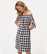 LOFT Gingham Tie Off The Shoulder Dress