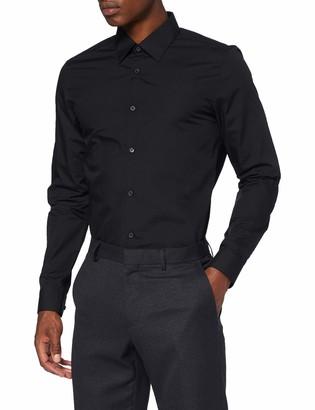 Burton Menswear London Men's Black Slim Fit Easy Iron Shirt Formal XXL