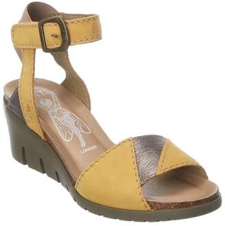 Fly London Imat Leather Comfort Wedge Sandal
