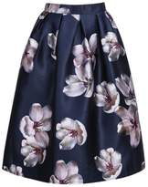 Awtang Womens Korean High Waist Peach Flower Floral Print Skater Pleated A-Line Midi Skirt