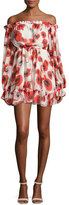 Nicholas Poppy Floral Off-the-Shoulder Silk Mini Dress, Red/White