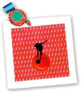 3dRose LLC qs_180790_1 Beverly Turner Sports Design - Woman on Bowling Ball with Bowling Pin Background, Red - Quilt Squares